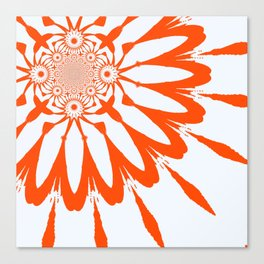 The Modern Flower White & Orange Canvas Print