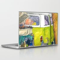 volkswagon Laptop & iPad Skins featuring VW Bus Campsite by Barb Laskey Studio