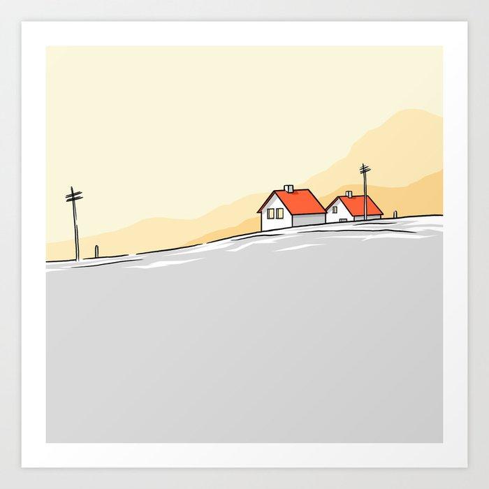 Houses on the horizon Art Print