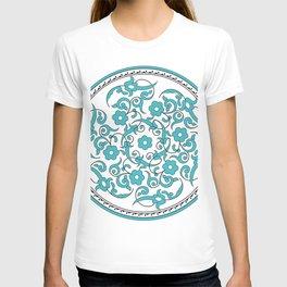 Round Green Floral Tile Art T-shirt