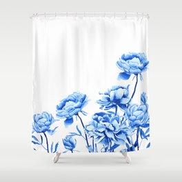 blue peonies 2 Shower Curtain