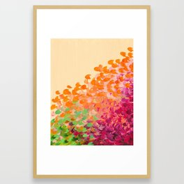 CREATION IN COLOR Autumn Infusion - Colorful Abstract Acrylic Painting Fall Splash Ombre Ocean Waves Framed Art Print