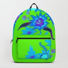 Neon Sky Blue Blooms Backpack
