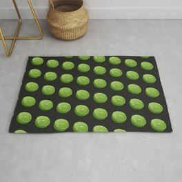 Green Limey Limes on Black Rug