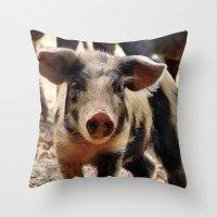 piglet Throw Pillows featuring Young Piglet by MehrFarbeimLeben
