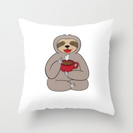 Namast'AY Awake Sloth Spirit Animal Coffee Bean Drewery Cafe Espresso T-shirt Design Morning Person Throw Pillow