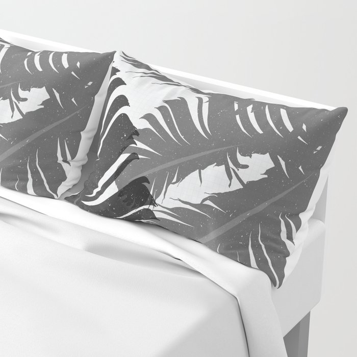 Tropical Leaf Silhouette in Gray Palette Pillow Sham