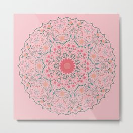 Flower Rounds Mandala Metal Print
