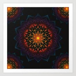 'Glowing Shamballa' Bohemian Mandala Black Blue Purple Orange Yellow Art Print