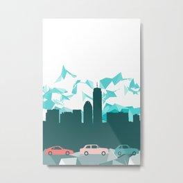 City, mountain and cars Metal Print