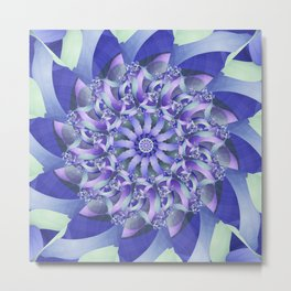 Ever Expanding Mandala in Blue and Purple Metal Print