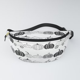 Pumpkin Ink Pattern Black and White Fanny Pack