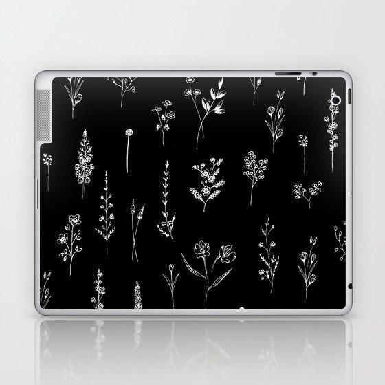 Black wildflowers Laptop & iPad Skin