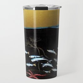 Marine Life - Octopus and Fish Landscape by Fernand Majorel Travel Mug