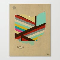 ohio state Canvas Prints featuring Ohio state map by bri.buckley