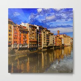 View to embankment of Arno river with bridge and medieval buildings, Florence, Italy. Metal Print