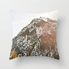 Snowy Mountain Peak in the Sun Throw Pillow