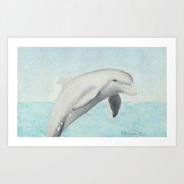 Jumping Dolphin Watercolor Art Print