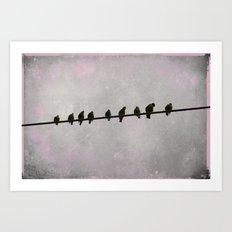 9 Birds on a Wire Art Print