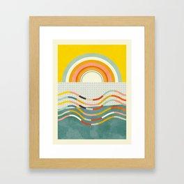 sun rainbow waves mid century summer Framed Art Print