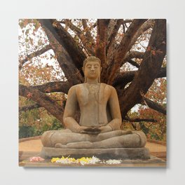 Buddha under the 'Autumn' leaves II Metal Print