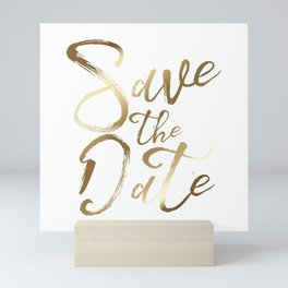 Save the date, gold brushstrokes typography Mini Art Print