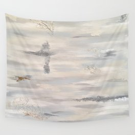 Neutral Driftwood Gray Abstract with Silver Foil Wall Tapestry
