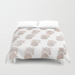Rose gold pineapples Duvet Cover