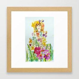 Blonde flower girl Framed Art Print