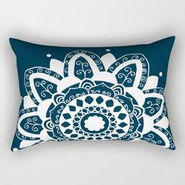 Simple white mandala on navy blue Rectangular Pillow