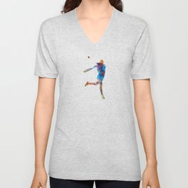 Woman tennis player 03 in watercolor Unisex V-Neck