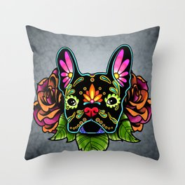 French Bulldog in Black - Day of the Dead Bulldog Sugar Skull Dog Throw Pillow