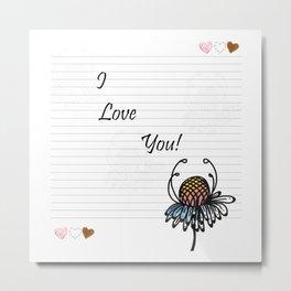 Letter Paper I Love You Metal Print