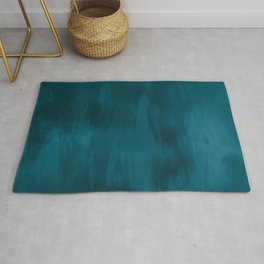 Tropical Dark Teal Inspired by Sherwin Williams 2020 Trending Color Oceanside SW6496 Fusion Water Color Blend Rug