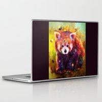 red panda Laptop & iPad Skins featuring red panda by ururuty