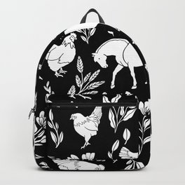 Modern Folk Art Horse Pattern with Botanicals and Chickens Backpack