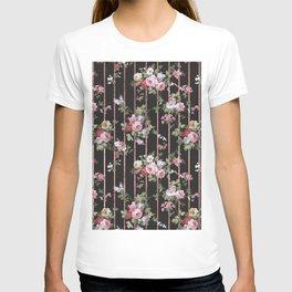 Elegant faux rose gold black stripes vintage blush pink lavender floral T-shirt