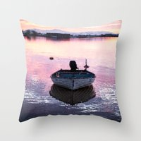 boat Throw Pillows featuring Boat by Dora Birgis