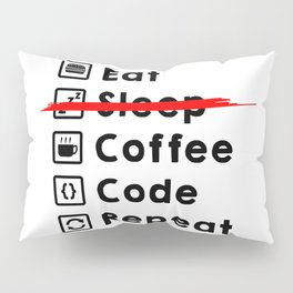 Eat Coffee Code Repeat Pillow Sham