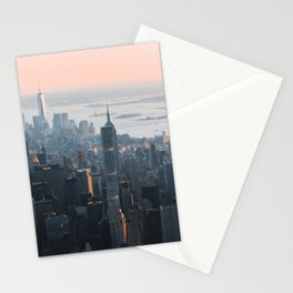 Pink skies over Manhattan NYC Stationery Cards