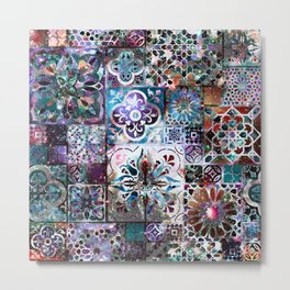 Celestial Tile Pattern Metal Print