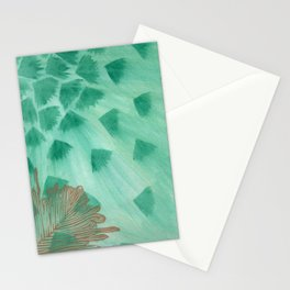 Teal Fans and Feather Stationery Cards