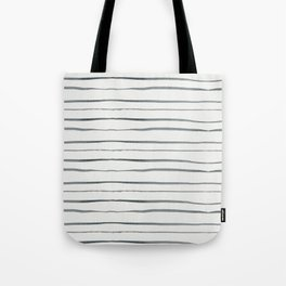 Hand painted white gray watercolor striped pattern Tote Bag