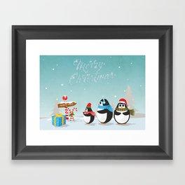 Christmas Penguins Framed Art Print