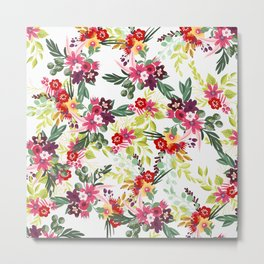 Blush pink red yellow modern hand drawn floral pattern Metal Print