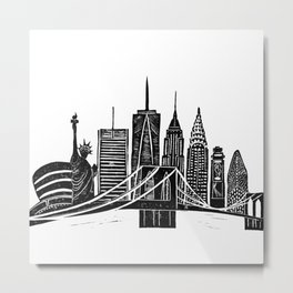 Linocut New York Metal Print