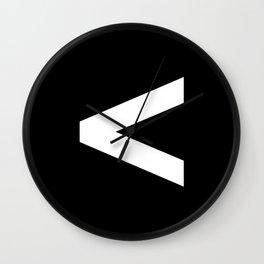 Less-Than Sign (White & Black) Wall Clock