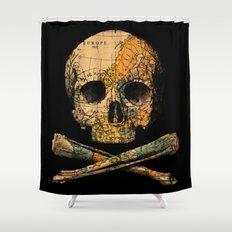 Treasure Map Skull Wanderlust Europe Shower Curtain