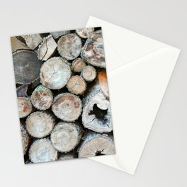Rustic Beige Brown Logs on Woodpile Stationery Cards