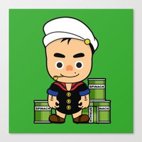 popeye Canvas Prints featuring Popeye  by Jefferson Ng
